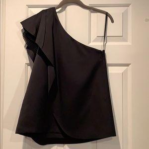 Asymmetrical flutter cap sleeve cocktail blouse